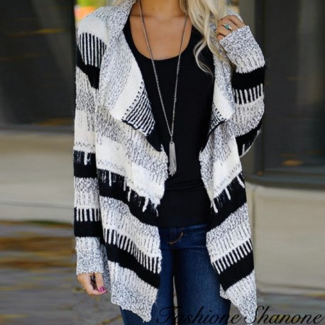 Striped wool cardigan