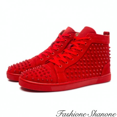 Studded red sneakers