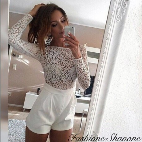 White short jumpsuit with lace top