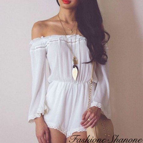 White short jumpsuit with shoulder off