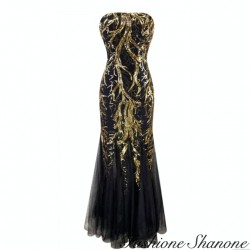 Black mermaid dress with gold sequin