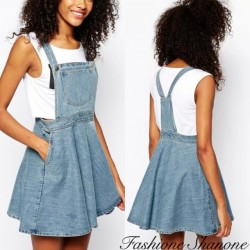 Denim dress overalls