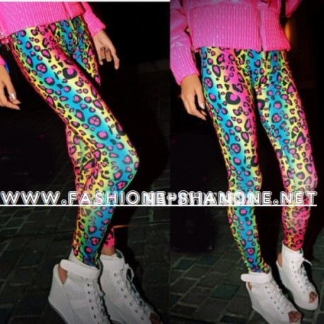 Legging léopard multicolore