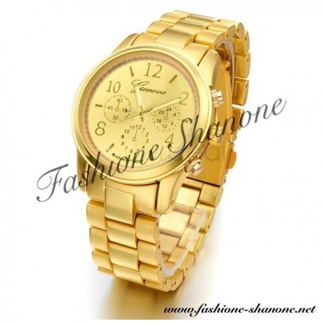 305 - Gold Geneva steel watch