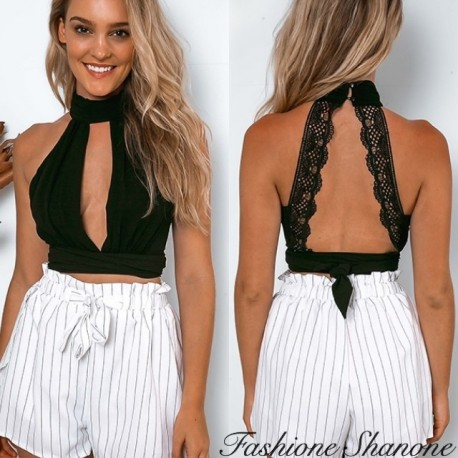 Deep V crop top with open back