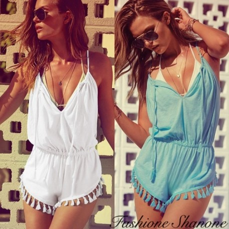 Shorts jumpsuit with tassel
