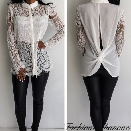 White lace shirt with open back