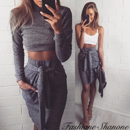 Gray wool crop top and skirt set
