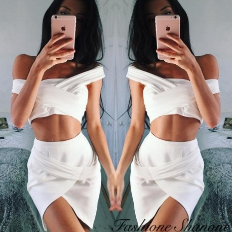 White draped crop top and skirt set