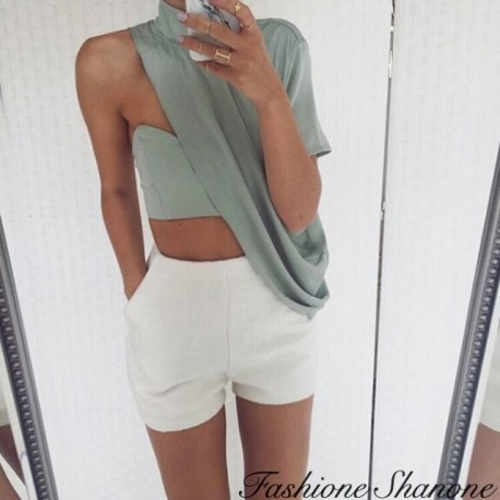 Green crop top and white short set