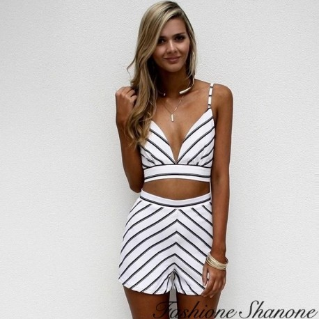 Black and white striped crop top and shorts set