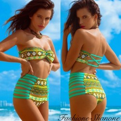 Green and yellow pattern high waist bikini