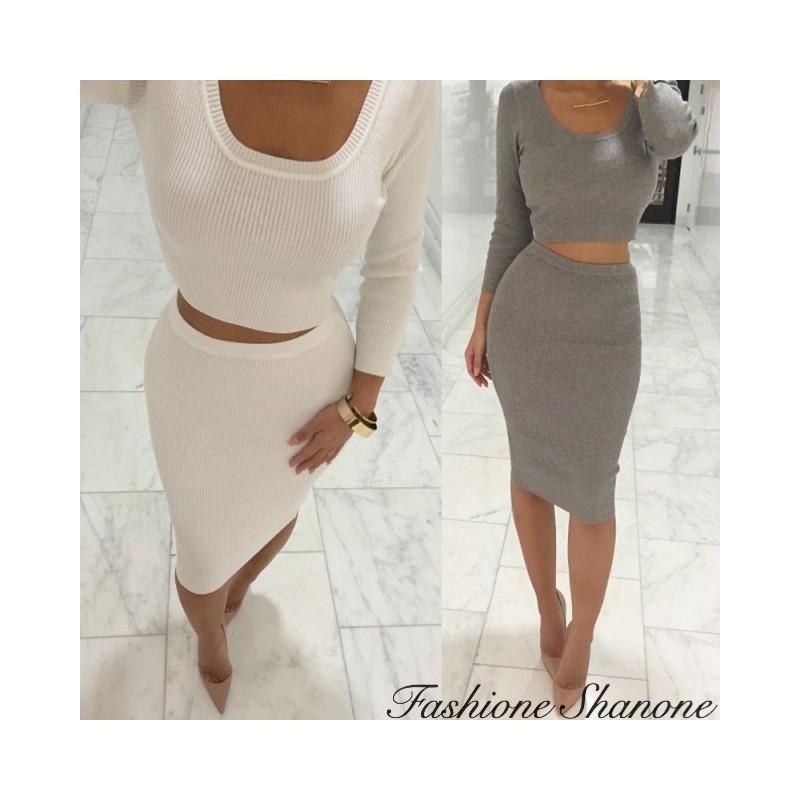 Ribbed crop top and skirt set