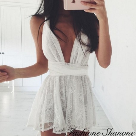 White lace top with plunging neckline