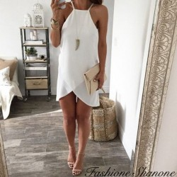 White asymmetric fluid dress