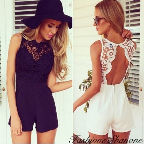 Lace shorts jumpsuit with open back