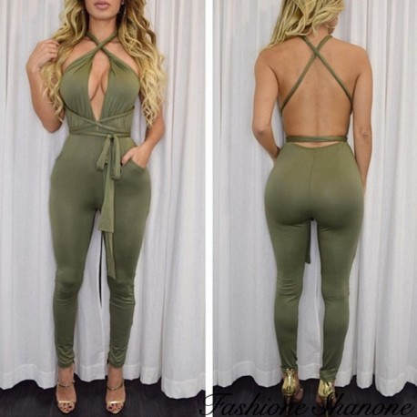 Bodycon pants jumpsuit with plunging neckline