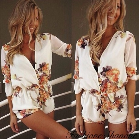 White and floral shorts jumpsuit