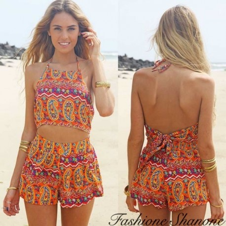 Retro pattern shorts jumpsuit with open belly