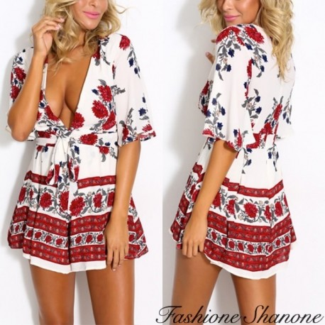 White and red shorts jumpsuit with plunging neckline