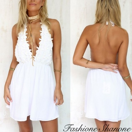 White open back dress with plunging neckline