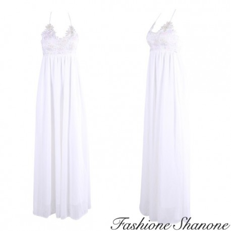 Long white dress with lace top