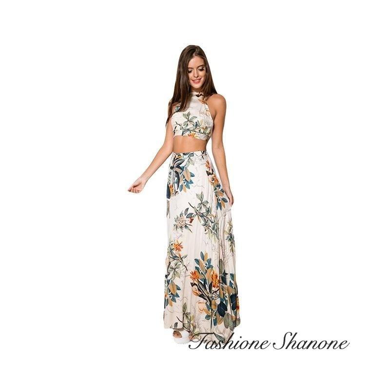Floral crop top and long skirt set