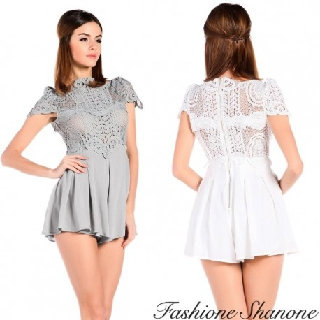Shorts jumpsuit with lace top