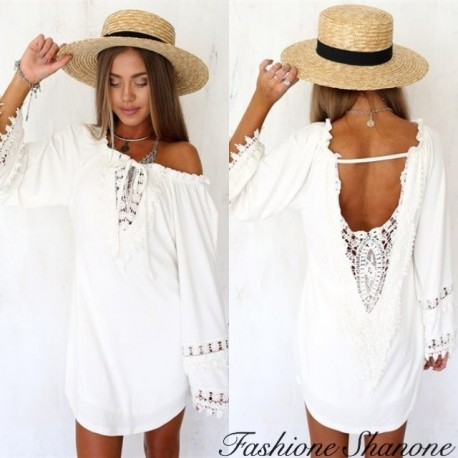 Fashione Shanone - Loose-fitting white dress with open back