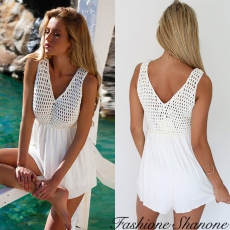 Fashione Shanone - White shorts jumpsuit with crochet top