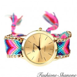 Montre dorée en bracelet tressé