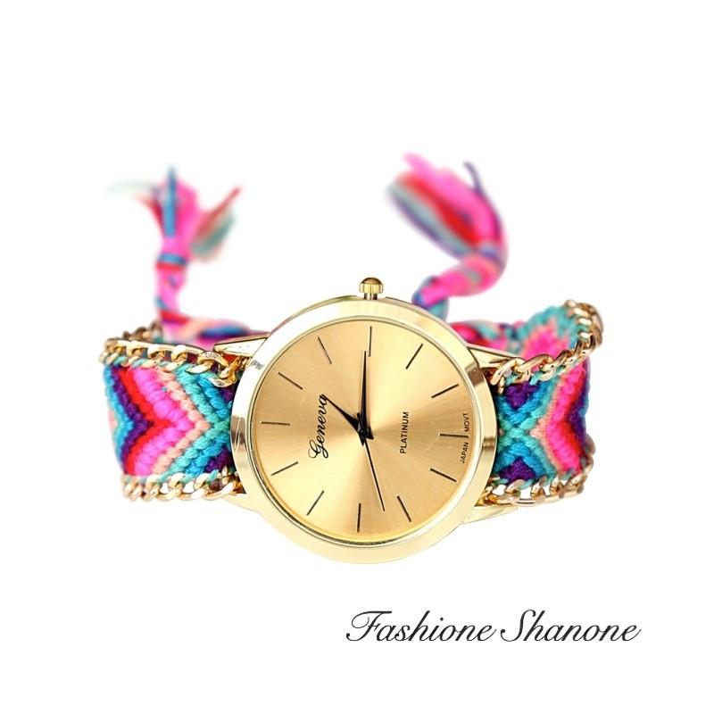 Fashione Shanone - Braided bracelet golden watch