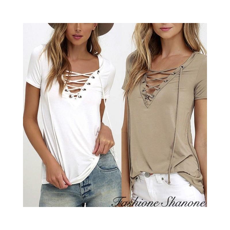Fashione Shanone - Lace up T-shirt