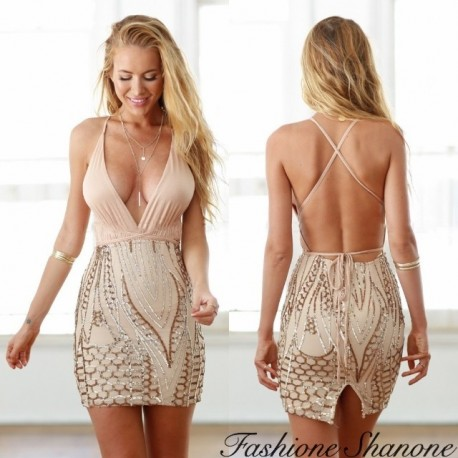 Fashione Shanone - Plunging neckline sequin dress with open back