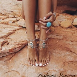 Bracelet de cheville argenté avec perle turquoise
