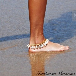 Fashione Shanone - Gold chain and shell anklet