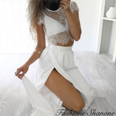 Fashione Shanone - Lace crop top and long skirt set