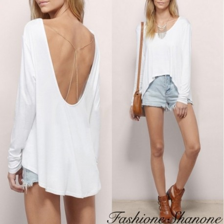 "Fashione Shanone - ""Loose"" effect blouse with open back"