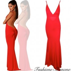 Fashione Shanone - Red backless maxi dress