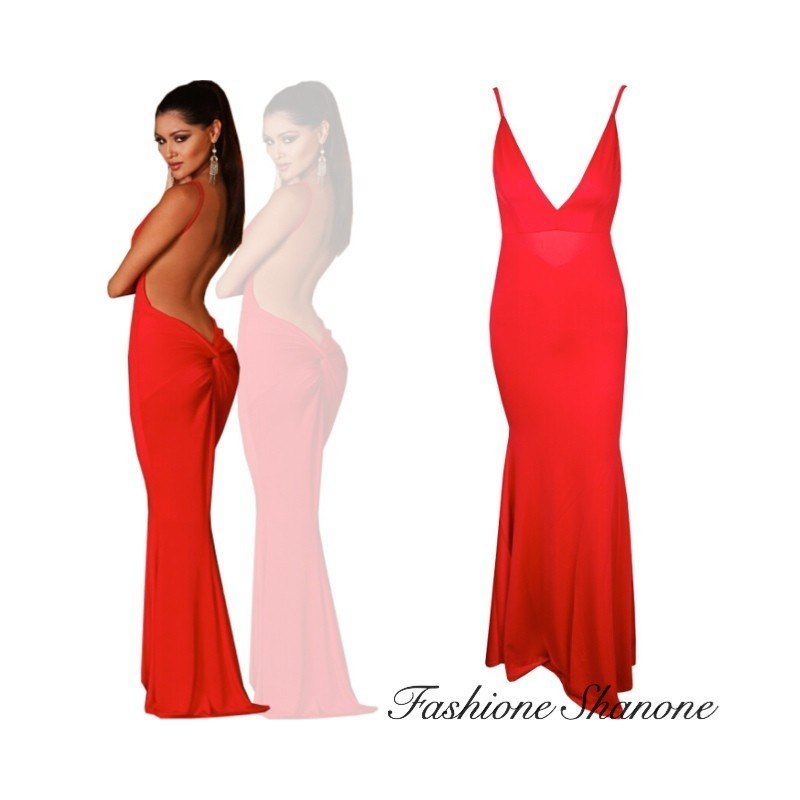 Robe longue rouge decollete