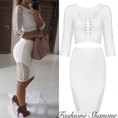 Fashione Shanone - Crop top and high waist skirt cut out set