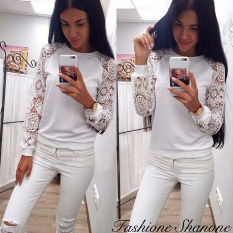 Fashione Shanone - White hoodie with lace sleeve