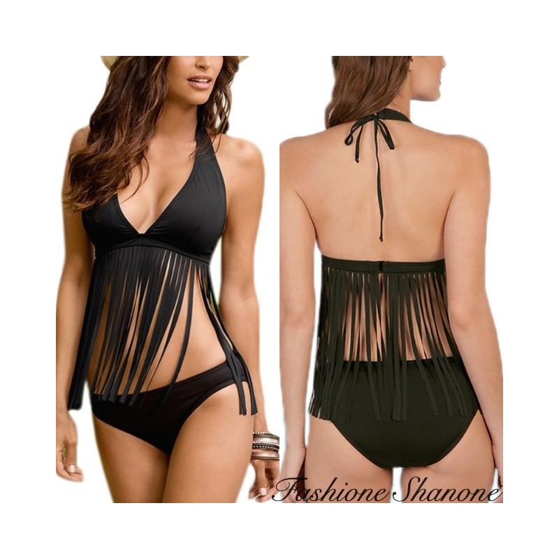 Fashione Shanone - Black tassel bikini