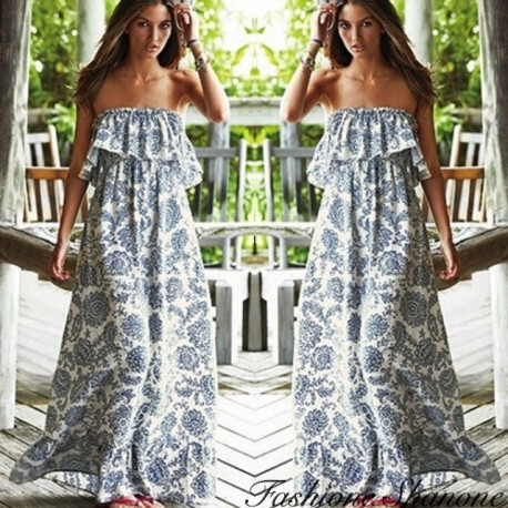 Fashione Shanone - Strapless bohemian style maxi dress