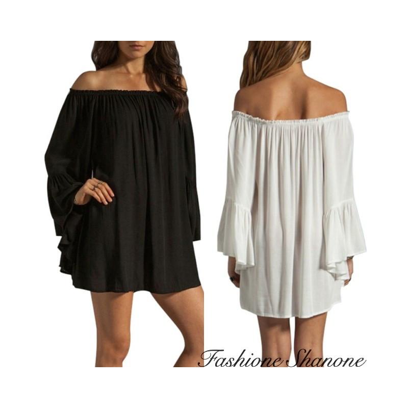 Fashione Shanone - Bardot neckline fluid dress