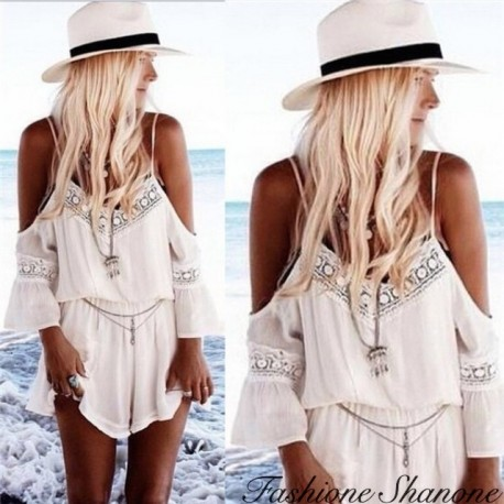 Fashione Shanone - White shorts jumpsuit with shoulder off
