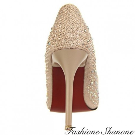 Fashione Shanone - Rhinestone red sole pumps