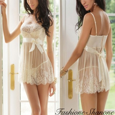 Fashione Shanone - Off-white lace babydoll