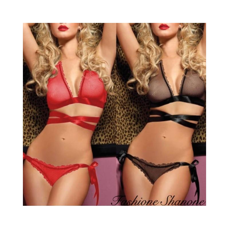 Fashione Shanone - Bra and panties mesh and ribbon set