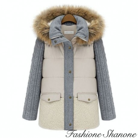 Beige and grey coat with hooded fur